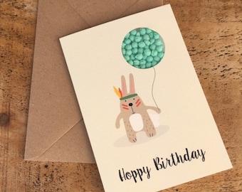 Hoppy birthday card happy birthday card bunny rabbit card hoppy birthday card happy birthday card rabbit card candy card sweet card bookmarktalkfo Images