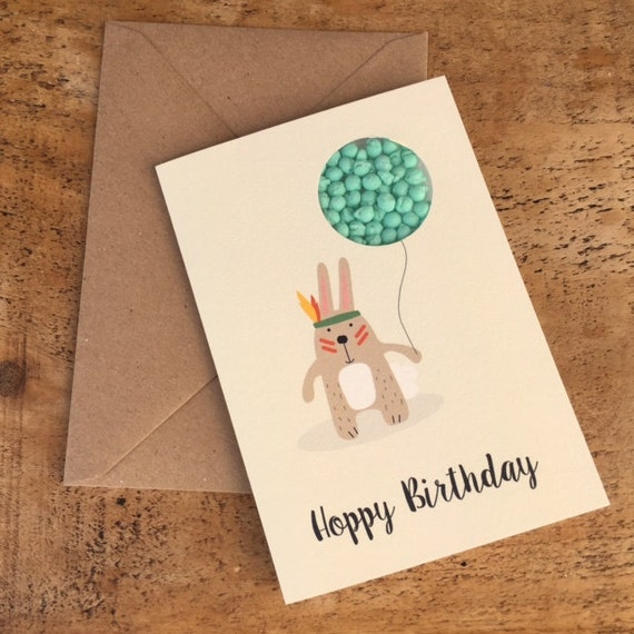 Hoppy birthday card happy birthday card rabbit card candy like this item bookmarktalkfo Image collections