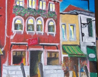 Original Venice Acrylic and Oil Pastels on Canvas