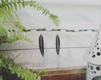 Simple yellow stripe design inner tube feather drop earrings dangle 925 sterling silver handmade boho festival upcycling recycling