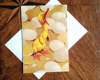 Quack! Vintage Duckling Greeting Card Repro. Perfect for a New Baby Greeting.