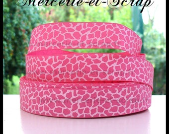 Giraffe Pink White 22mm grosgrain Ribbon sold by the animal meter spots