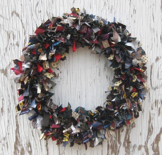 Recycled Vintage Silk Necktie Wreath - 20 inch
