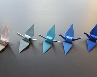Paper Cranes, 100 Handmade Small Origami Paper Cranes - White and 4 Shades of Blue, Wedding favors, Wedding invitation, Origami Cranes