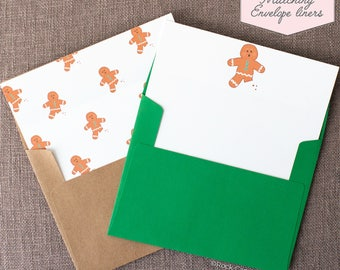 Printed Matching Envelope Liner | A2 Sized Liner | Wedding Liner | Gingerbread Cookie Liner | Christmas Card Liner | Happy Holidays Card