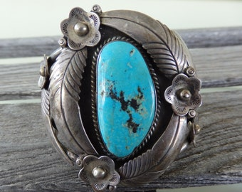 Turquoise Old Pawn Sterling Silver Cuff Bracelet-LARGE-Beautiful Stone-Stamped SP 104 Grams