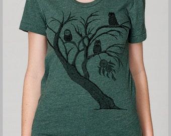 Dreamcatcher Tree Owls Unique Women's T Shirt American Apparel Tee Shirt