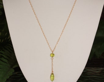 Peridot Y Necklace, Gold or Silver, Green Gemstone, Layered, Minimalist, Layering Necklace, Dainty, August Birthstone, Free Shipping