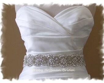"Jeweled Wedding Sash, 17"" Vintage Style Crystal Pearl Bridal Belt, Pearl Rhinestone Wedding Belt, Rhinestone Encrusted Sash, No. 4069-17"