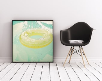 Swimming Pool Art, Retro Print, Summer Wall Art - Inviting