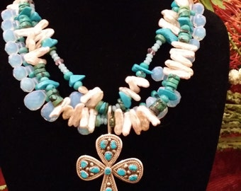 Turquoise, Pearl and Moonstone Necklace with Sterling Silver and Turquoise Cross Pendant