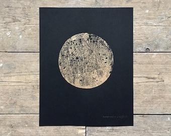Copper Moon 4 - 8x10 Lino Print, Linocut, Handprinted Linocut, Linocut Print - Metallic Ink, Luna Art - by Natasha Newton
