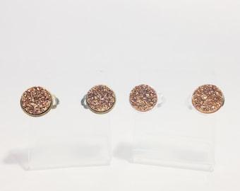 Druzy Clip On Earrings in Bronze, Druzy Clip On Earrings, Copper Druzy Clip On Earrings, Silver Clip On Earrings, Gold Clip On Earrings
