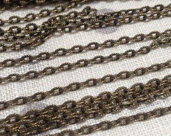 10 meter of textured chain 4.5 x 3 mm bronze