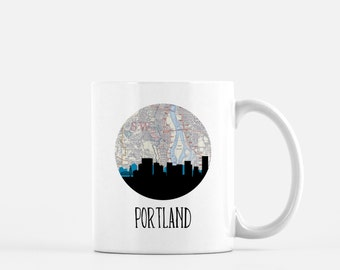 Portland Oregon map mug   Portland skyline mug   Oregon mug   Portland Oregon mug   Portland skyline map mug   Pacific Northwest mug