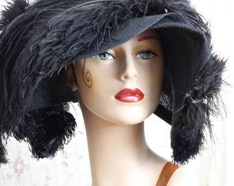Authentic Antique Hat / 1900s Hat / Victorian / Edwardian / Belle Epoque / Titanic Era / Mourning Dress / One Size