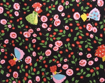 1 yard cute little flower with girls printed fabric
