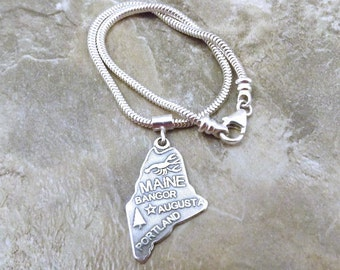 Sterling Silver State of Maine Charm on a Sterling Silver Slim European Charm Bracelet - (1152/tube)