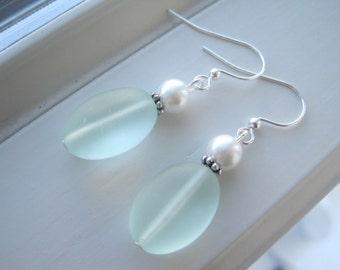 Seafoam Green Earrings - Sea Foam Green Jewelry - Cultured Sea Glass Jewelry - Pastel Earrings - Pastel Jewelry - Spring Earring
