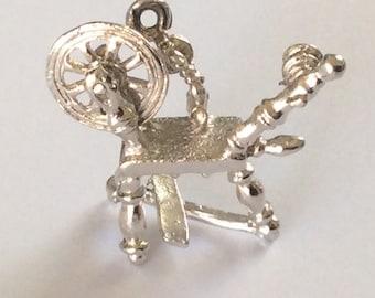 Sterling silver pioneer spinning wheel charm vintage # S 881