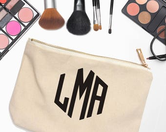 Monogram Cosmetic Case - Monogram Bridesmaid Gift - Bridesmaid Cosmetic Bag - Personalized Mothers Day Gifts - Gift for Her