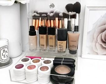 Brush Holder with lid - Acrylic makeup Storage organiser