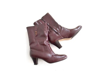 Brown Ankle Boots / Cordovan Fur Lined Boots / Size 7 Boots./ Women Shoes Accesories Boots Ankle Boots