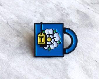 Tea lapel pin - tea lover enamel - teacup enamel pin - tea enamel pin - tea pin badge - Yorkshire pennant - tea mug enamel pin -  tea pin