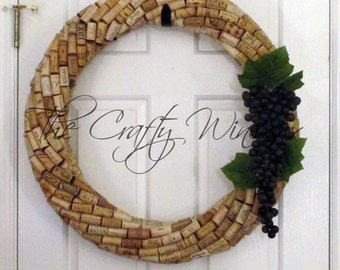 """Extra Large 25""""- CHOOSE your GRAPES! 25"""" Diameter Handmade Wine Cork Wreath, With Grapes Included, You Choose The Color!"""