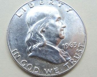 1963 D Franklin Half Dollar, Collectible Half Dollar, Vintage Half Dollar, USA Coins, Silver Coins, FREE Shipping