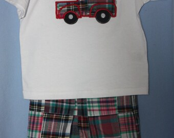Boy Shorts and T-shirt  Set.  Fabric Finders Madris plaid
