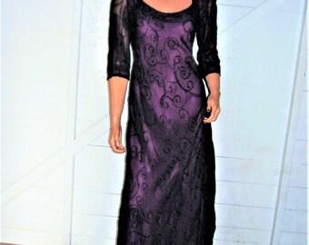 Nostalgia Purple Black Sheer Embroidered Maxi Dress S