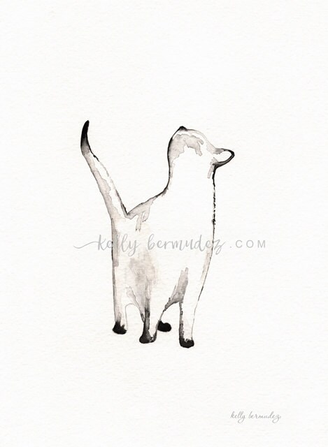 Wall Art Cat painting Cat Watercolor I look to You siamese