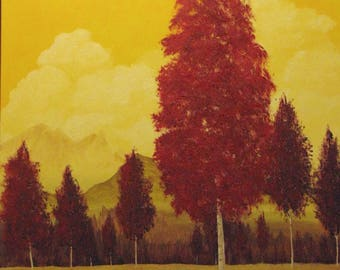 red tree yellow sky mountains Print Rusty 11x14 Fall autumn leaves landscape