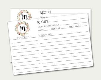 Personalized Recipe Card, Monogram Recipe Card, Initial Recipe Card, Custom Recipe Card, Bridal Shower Recipe Card, Recipe Card Printable