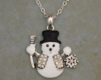 Snowman Rhinestone Necklace Christmas Winter Jewelry