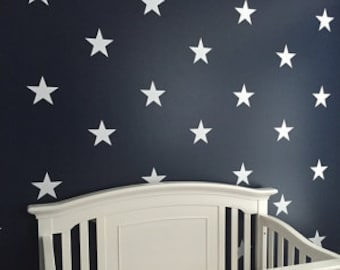 """10"""" White Vinyl Star Wall Decals / Star Wall Decals / Kids Room Wall Decal / Nursery Wall Decal / Teachers Wall Decal"""