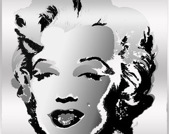 Tribute to Andy Warhol Pop Art 16x16 Silver Marilyn Monroe Metallic Limited Edition Print Signed by Auric Visual Artist