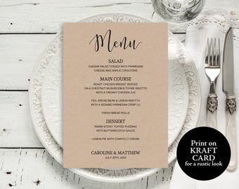 Printable Wedding Menu, Printable Menu, Wedding Menu Template, Editable Menu, Wedding Menu, Rustic Wedding, PDF Instant Download, M01