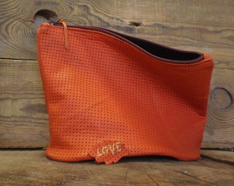 Toiletry bag, Cosmetic bag, Personalized bag, Zipper cosmetic pouch, Bridesmaid clutch, Makeup bag, Wedding bag, Orange, Womens Travel Bag