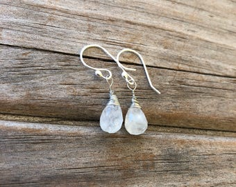 Teardrop Moonstone Earrings, Natural Gemstone earrings, Drop Earrings, Stone earrings, Gifts for her, Moonstone Earrings, Christmas Gift