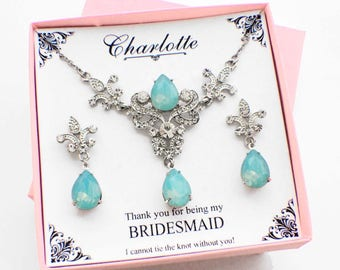 Mint bridesmaid jewelry set, bridesmaid earrings, bridesmaid necklace gift set, rhinestone necklace set, bridal jewelry set, wedding jewelry