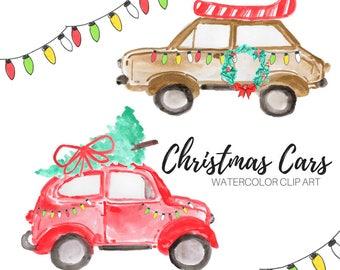 Watercolor clip art - Christmas clip art - Holiday clip art - Car clip art - Commercial Use