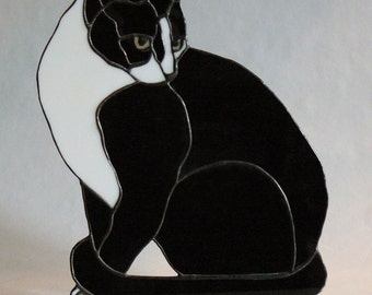 Butch - Stained Glass Black and White Cat