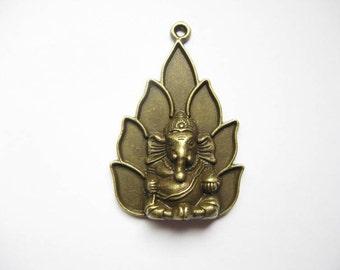 SALE - 1 Ganesha Charm in Bronze Tone - C1939