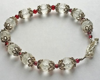 Crystal and Garnet bracelet.