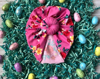 Pink Floral Top knot Turban