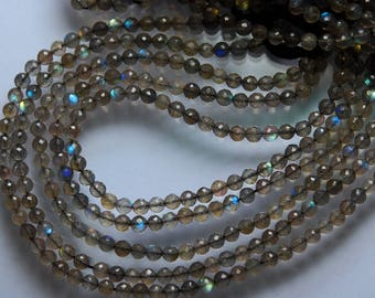 13.5 Inches, Super Finest AAA Blue Flash Labradorite Faceted Round Rondelles, Size 3.5mm