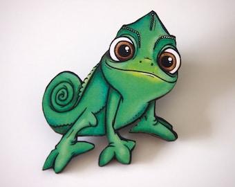 Pascal Chameleon from Rapunzel Laser Cut Wood Brooch