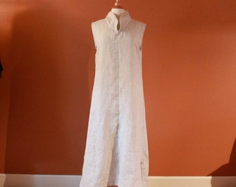 custom linen chipao collar sleeveless dress / spring summer linen dress / plus size / petite / tall girls / custom sizes / custom colors
